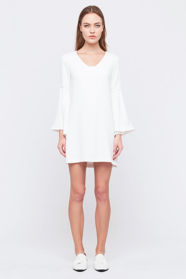 Flare Sleeve Shift Dress In White