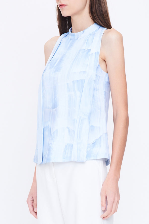Cutout Back Sleeveless Top In Print