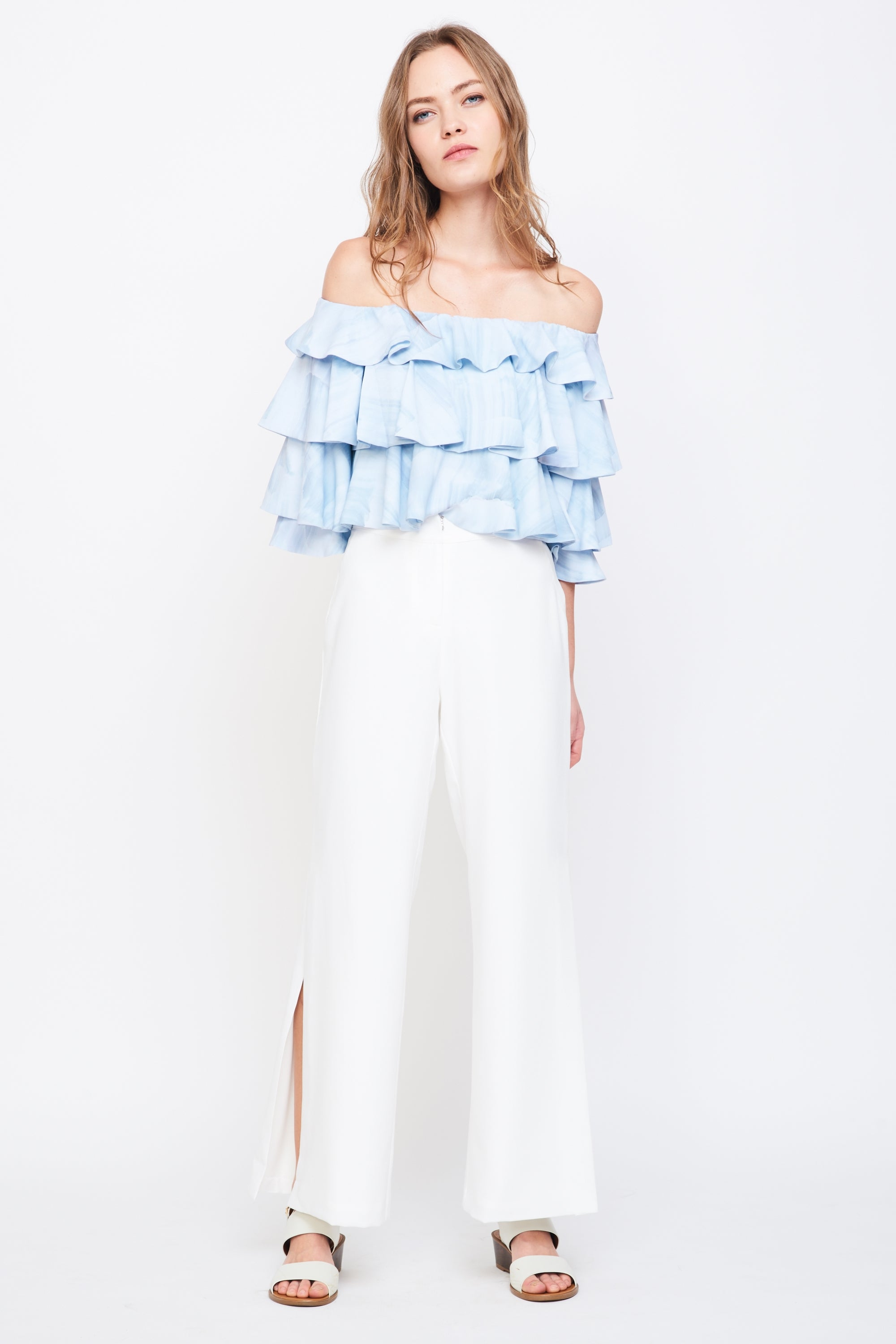 Tiered Off Shoulder Top In print