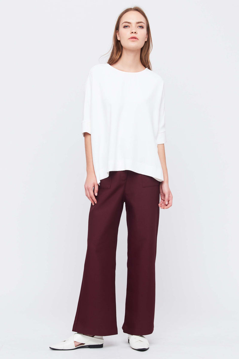 Oversize Top With Side Slits In White