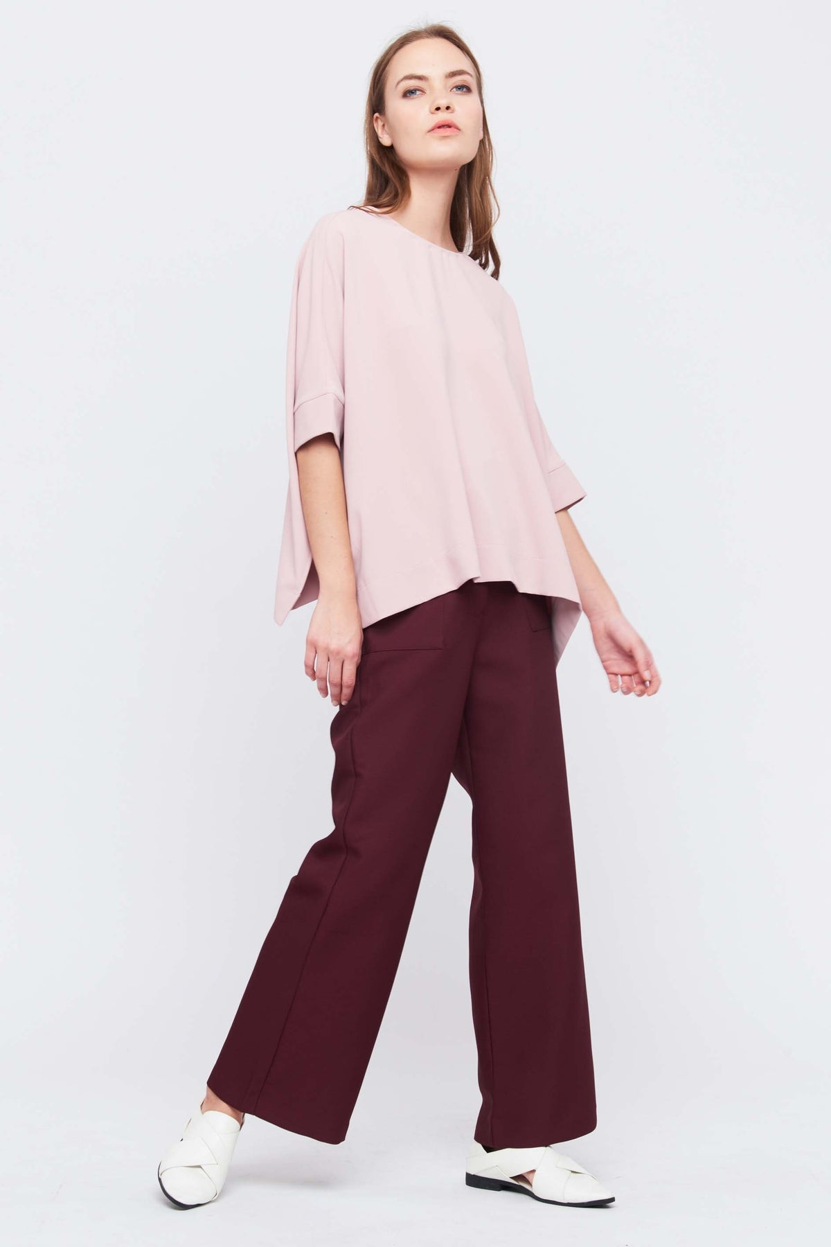 Oversize Top With Side Slits In Blush