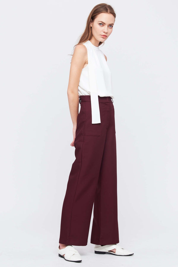 Tailored Flare Trousers In Maroon