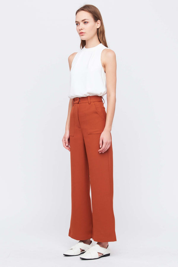 Tailored Flare Trousers In Burnt Orange