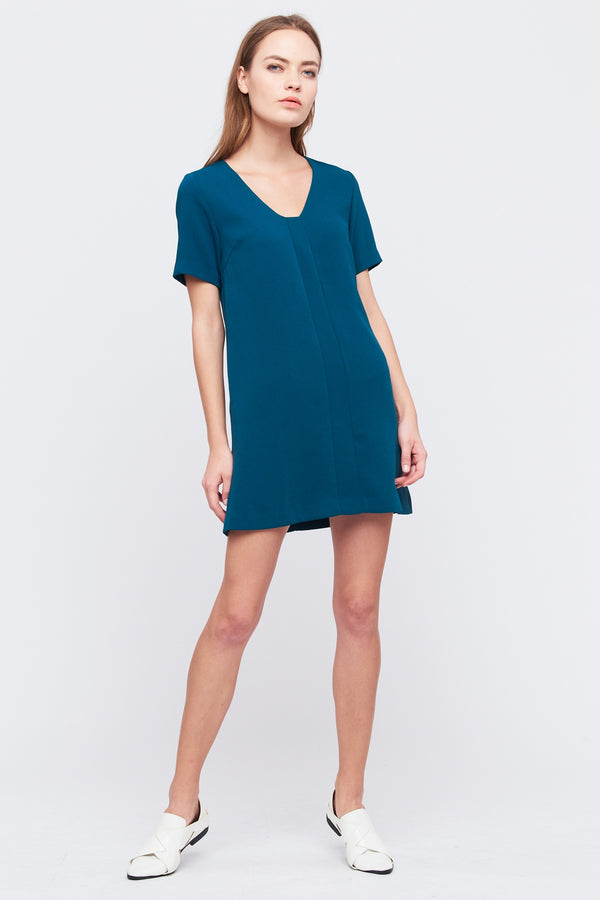 Square V Neck Shift Dress In Teal
