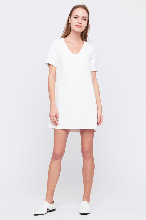 Square V Neck Shift Dress In White