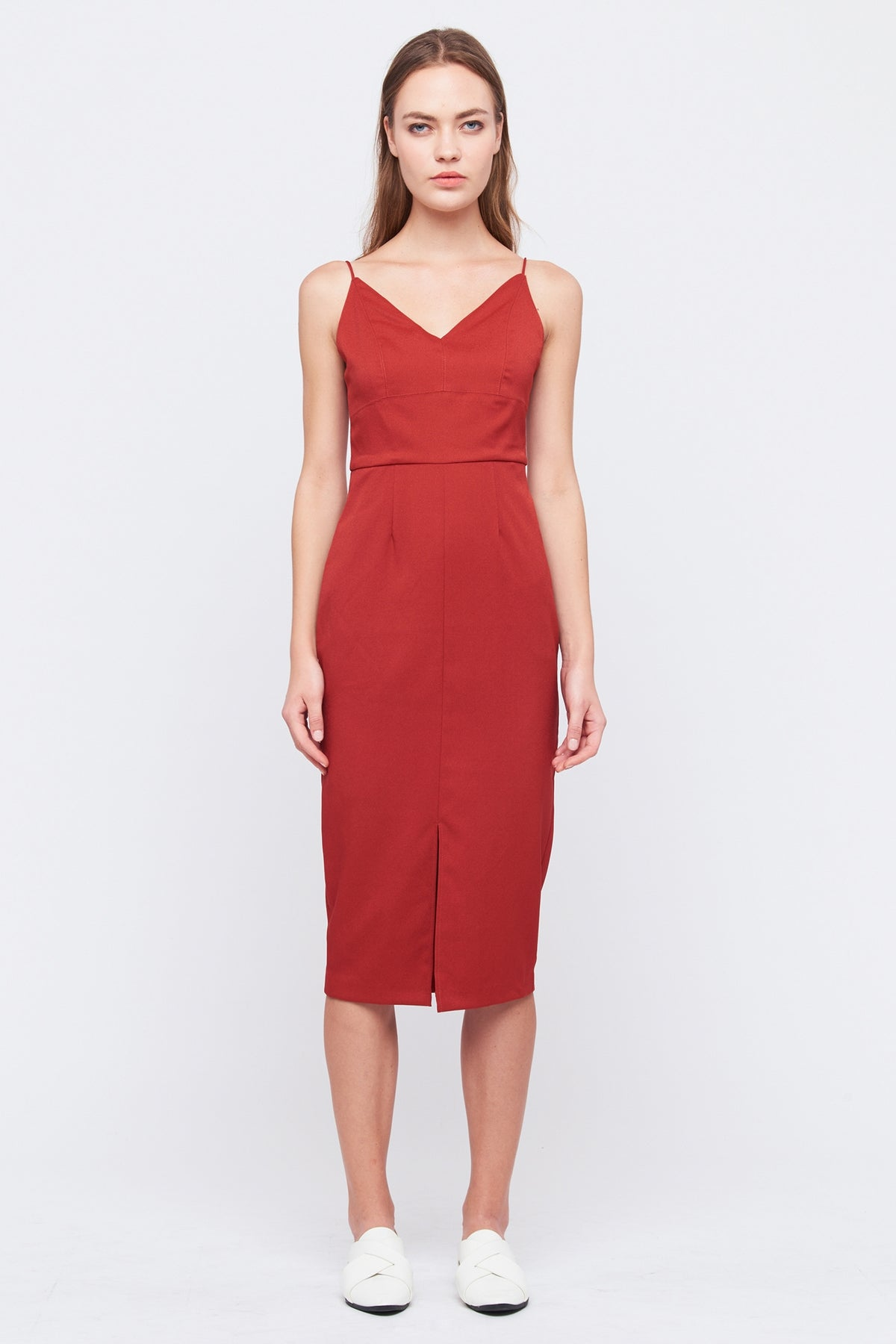 Sleeveless Tailored Dress In Red