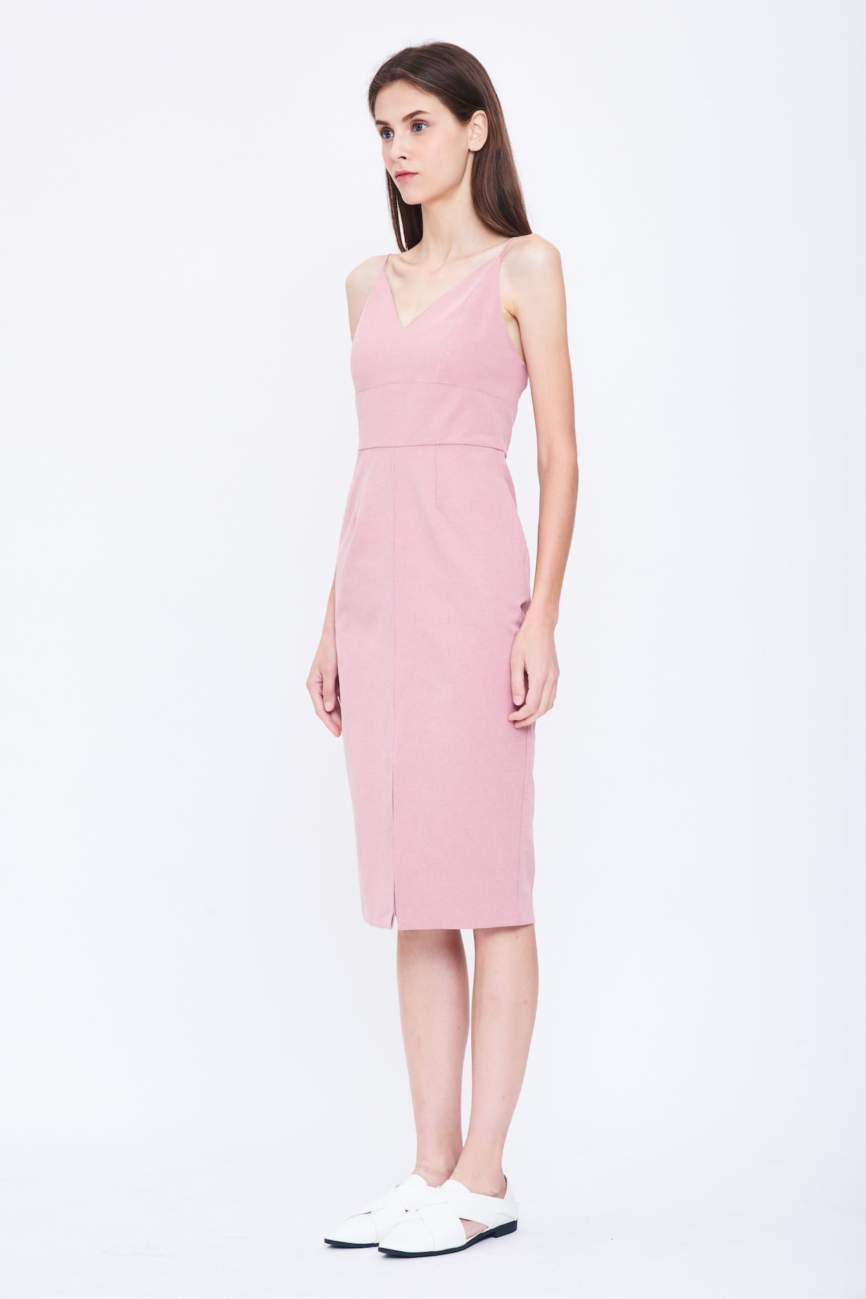 9df4f5ea7aee V Neck Tailored Dress in Pink ...