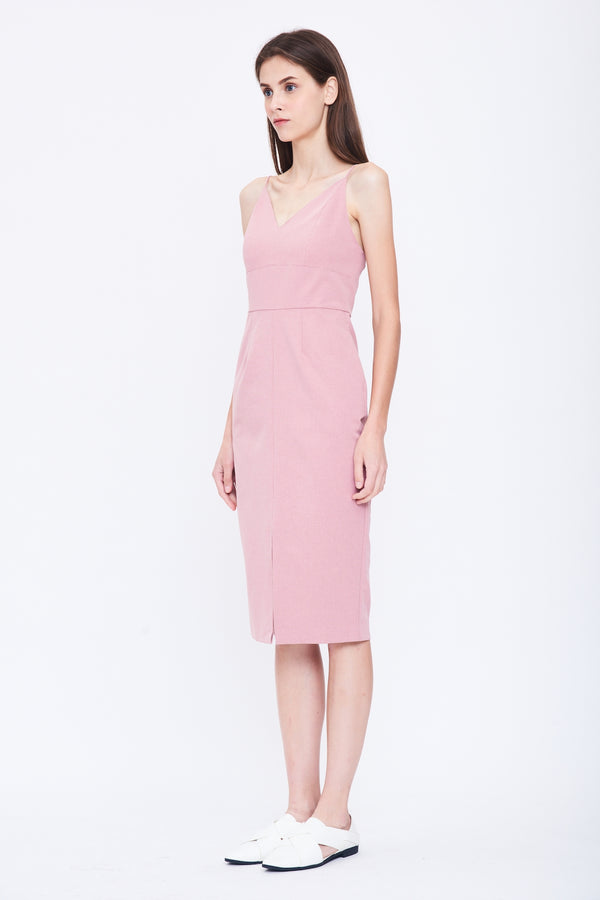 V Neck Tailored Dress in Pink
