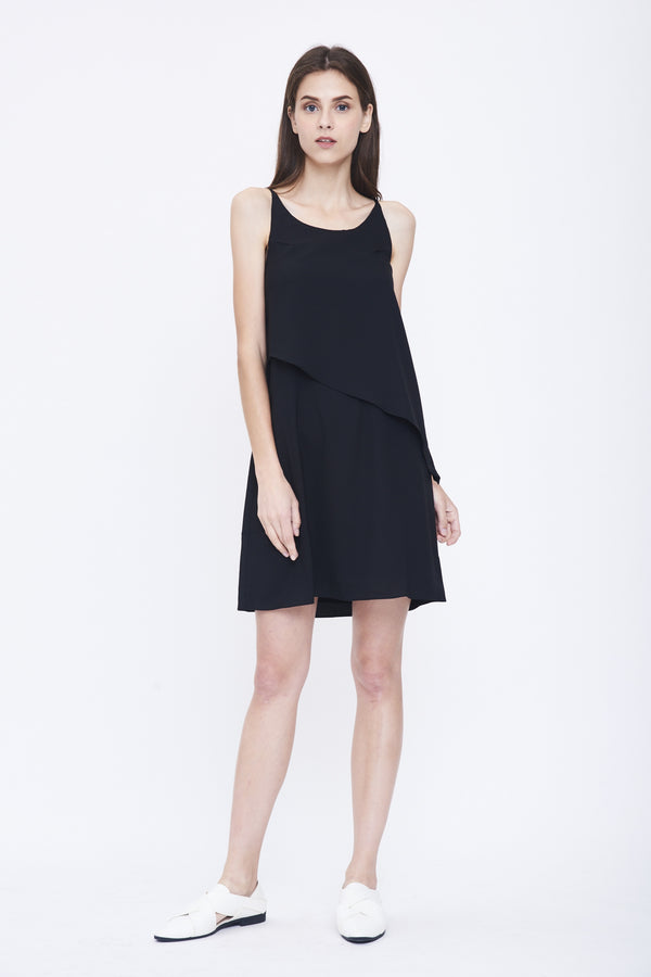 Layered Shift Dress In Black