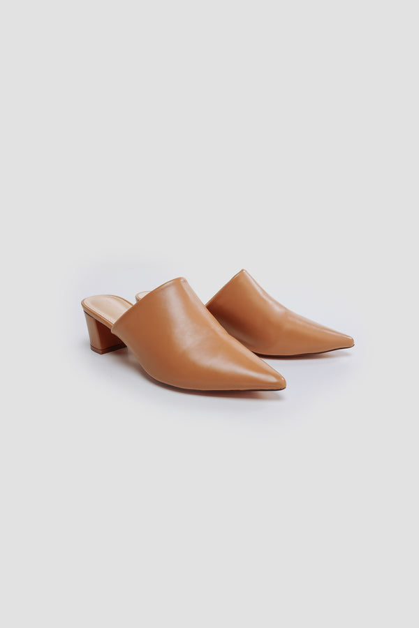 Pointed Toe Mules In Nude