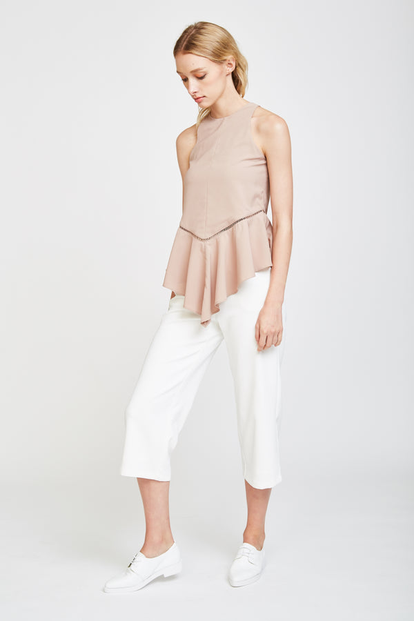 Eyelet Wave Top In Nude Pink