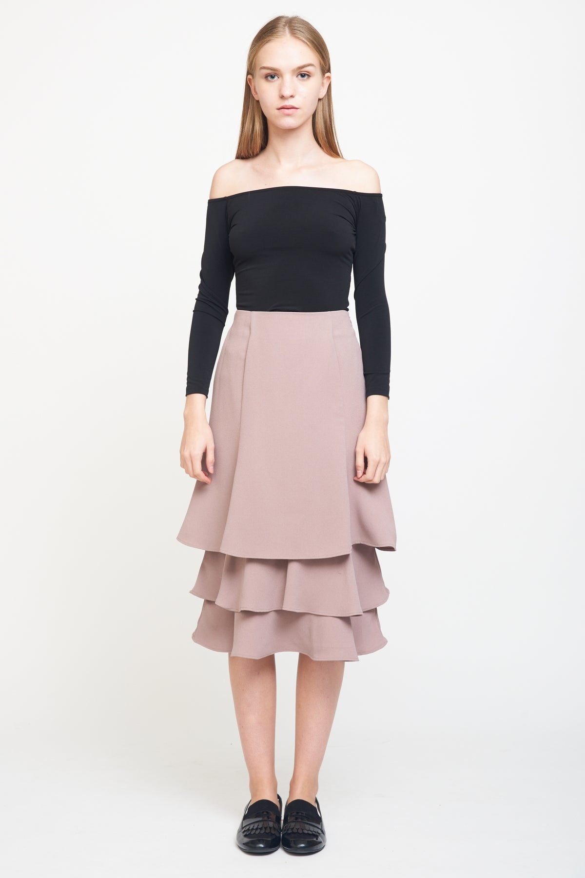 Layered Midi Skirt In Dusty Pink