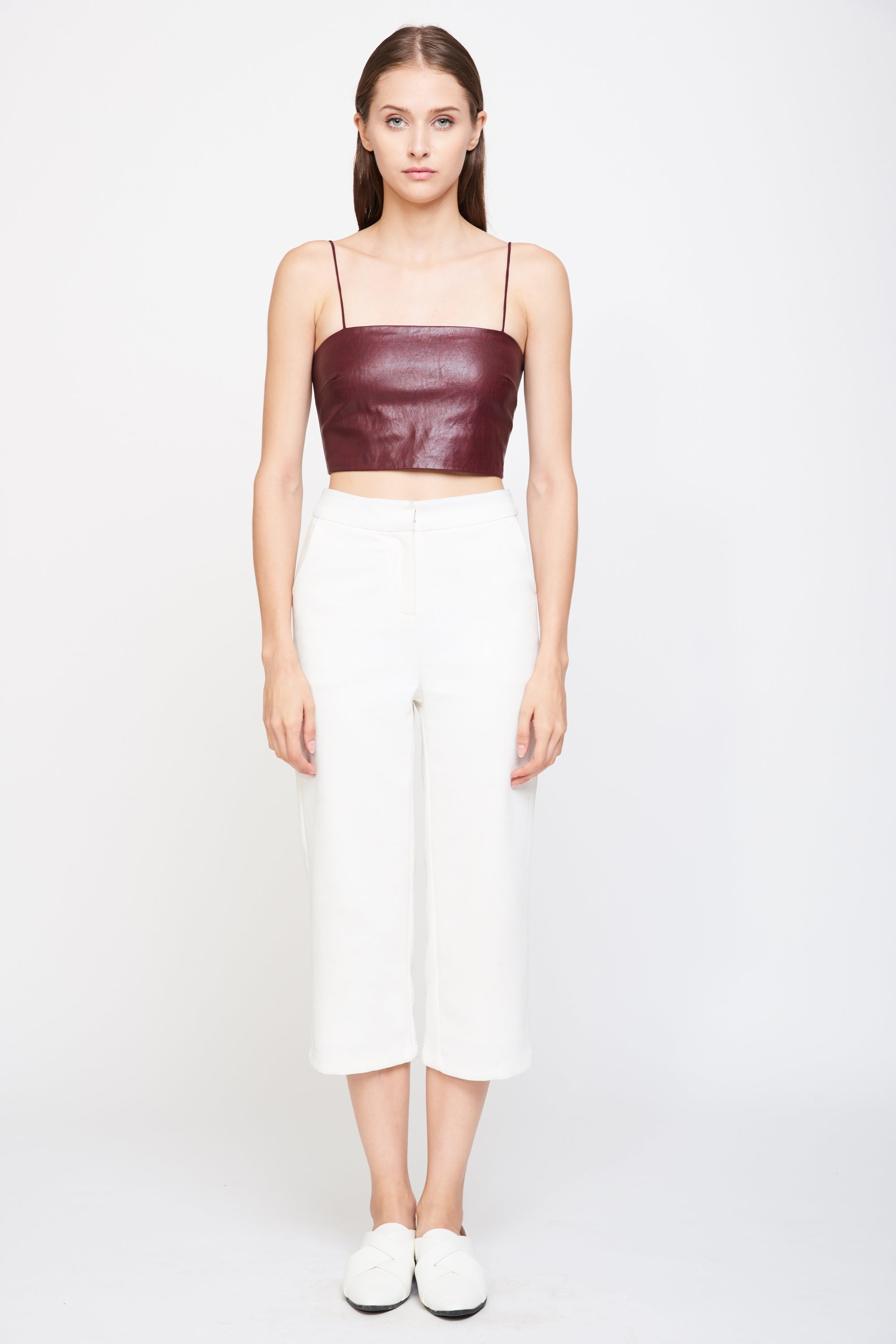 Leather Tube Top In Burgundy