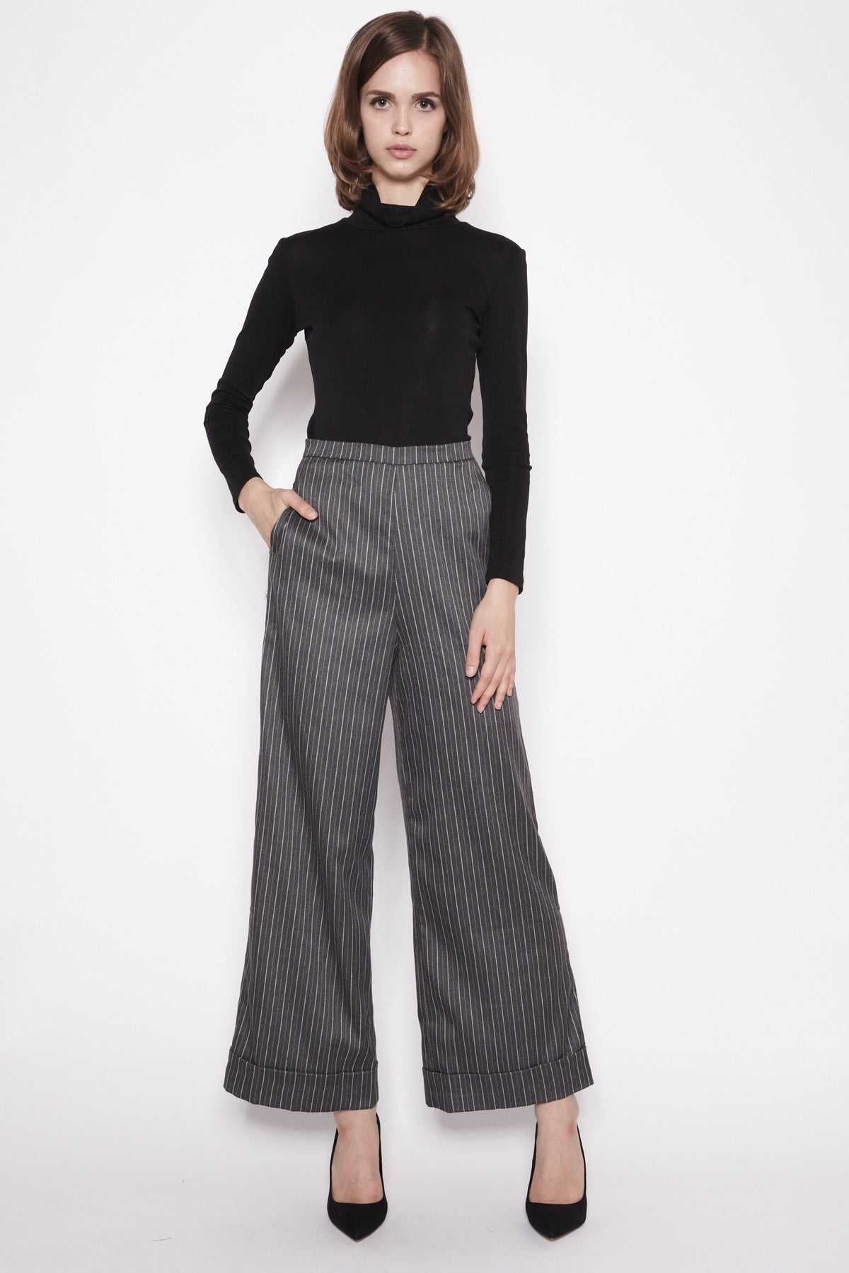 Bootcut Trousers In Pinstripe