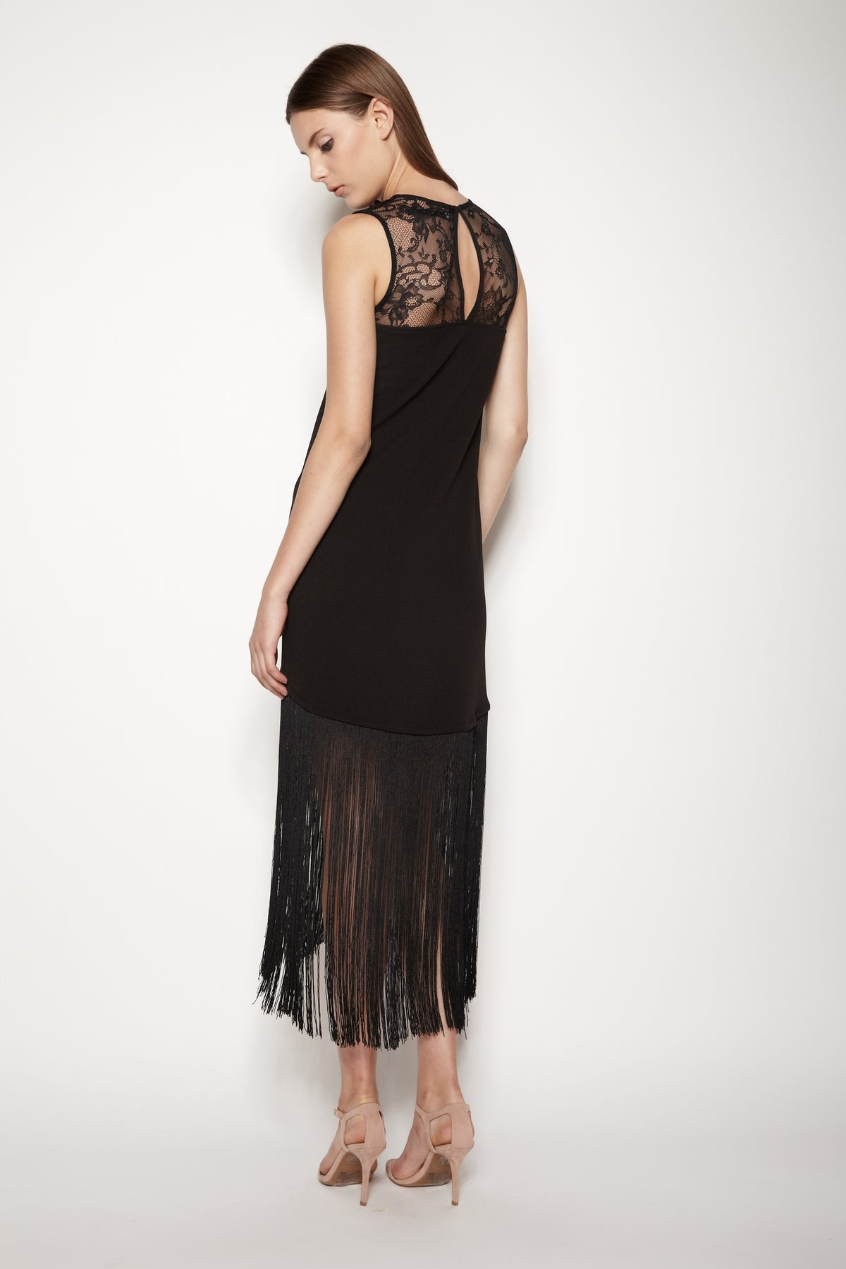 Lace Back Fringe Maxi Dress In Black