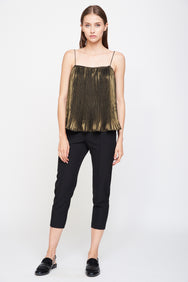 Pleated Spaghetti Top In Metallic Gold