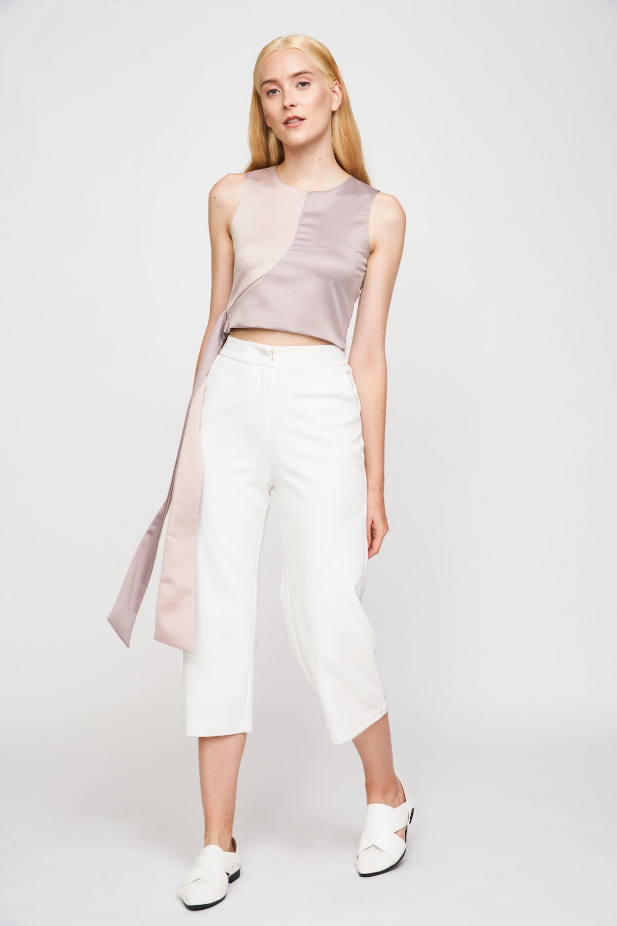 Two-tone Tie Waist Crop Top In Nude
