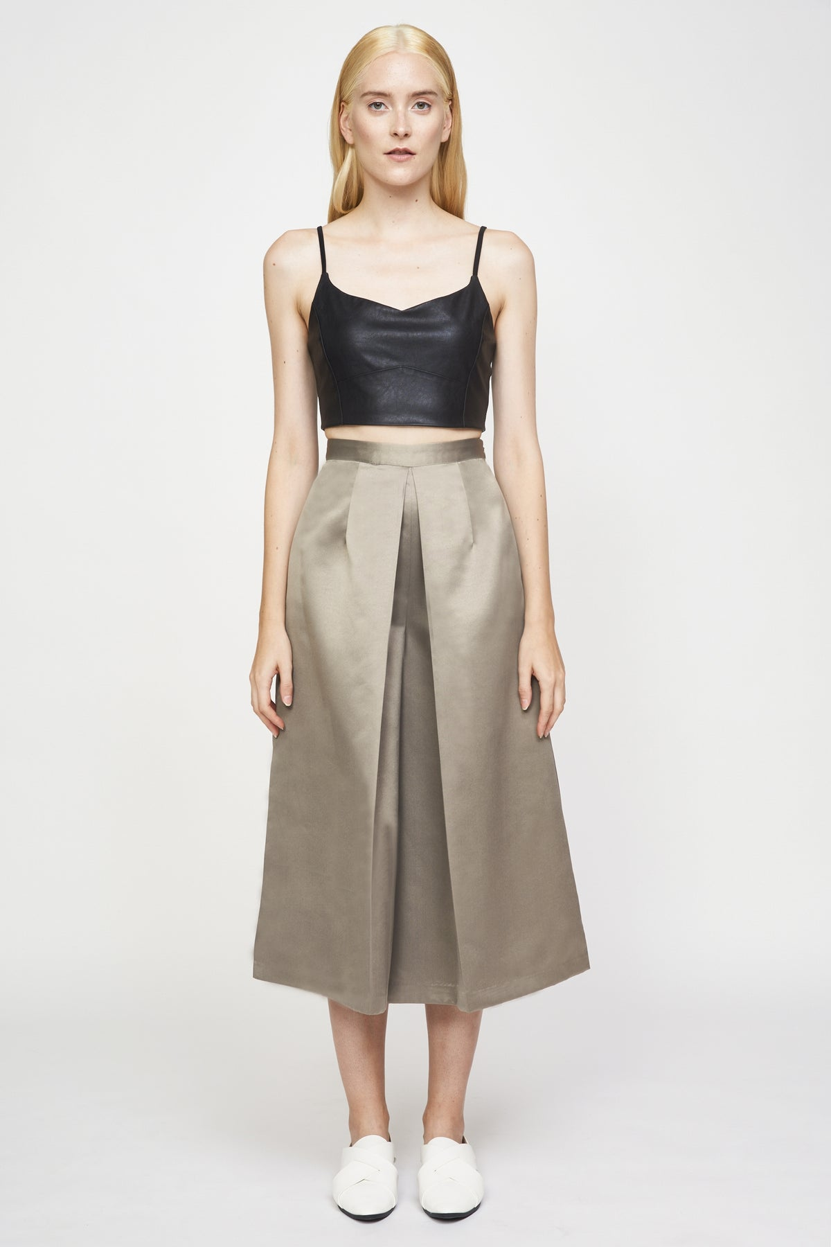 Pleated Culottes In Pale Olive
