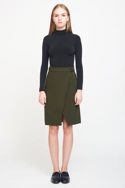 Wrap Buckle Skirt In Olive