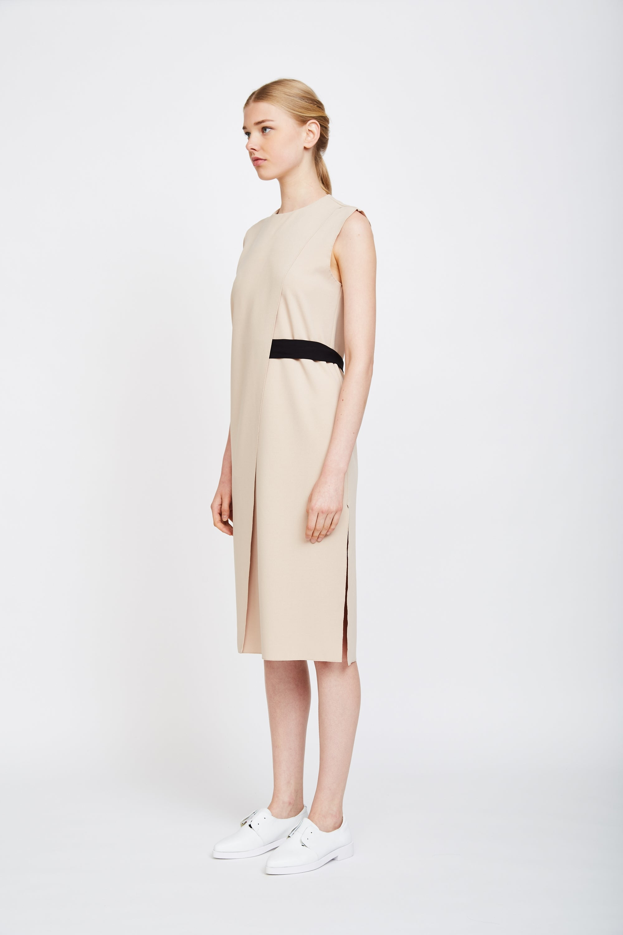 Panel Belted Dress In Beige