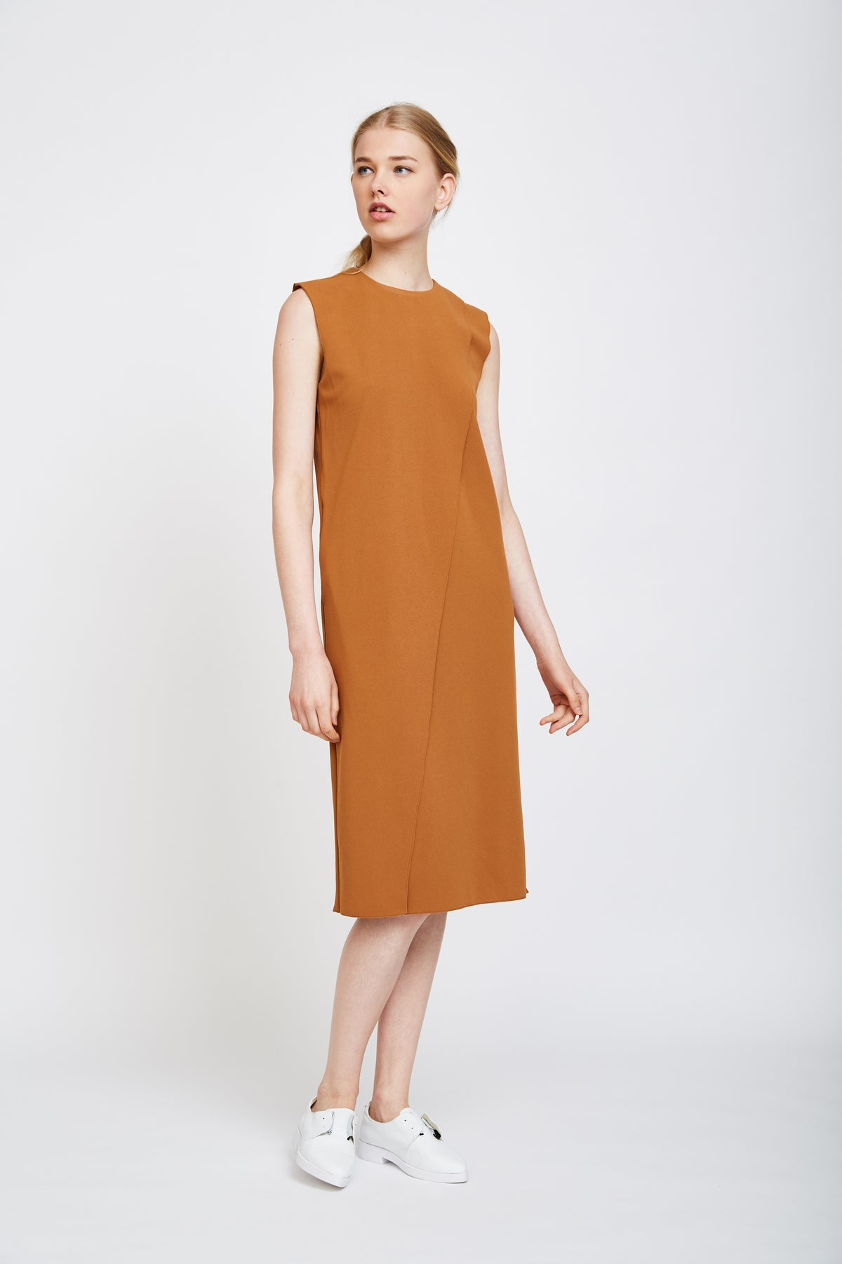 Panel Belted Dress In Terracotta