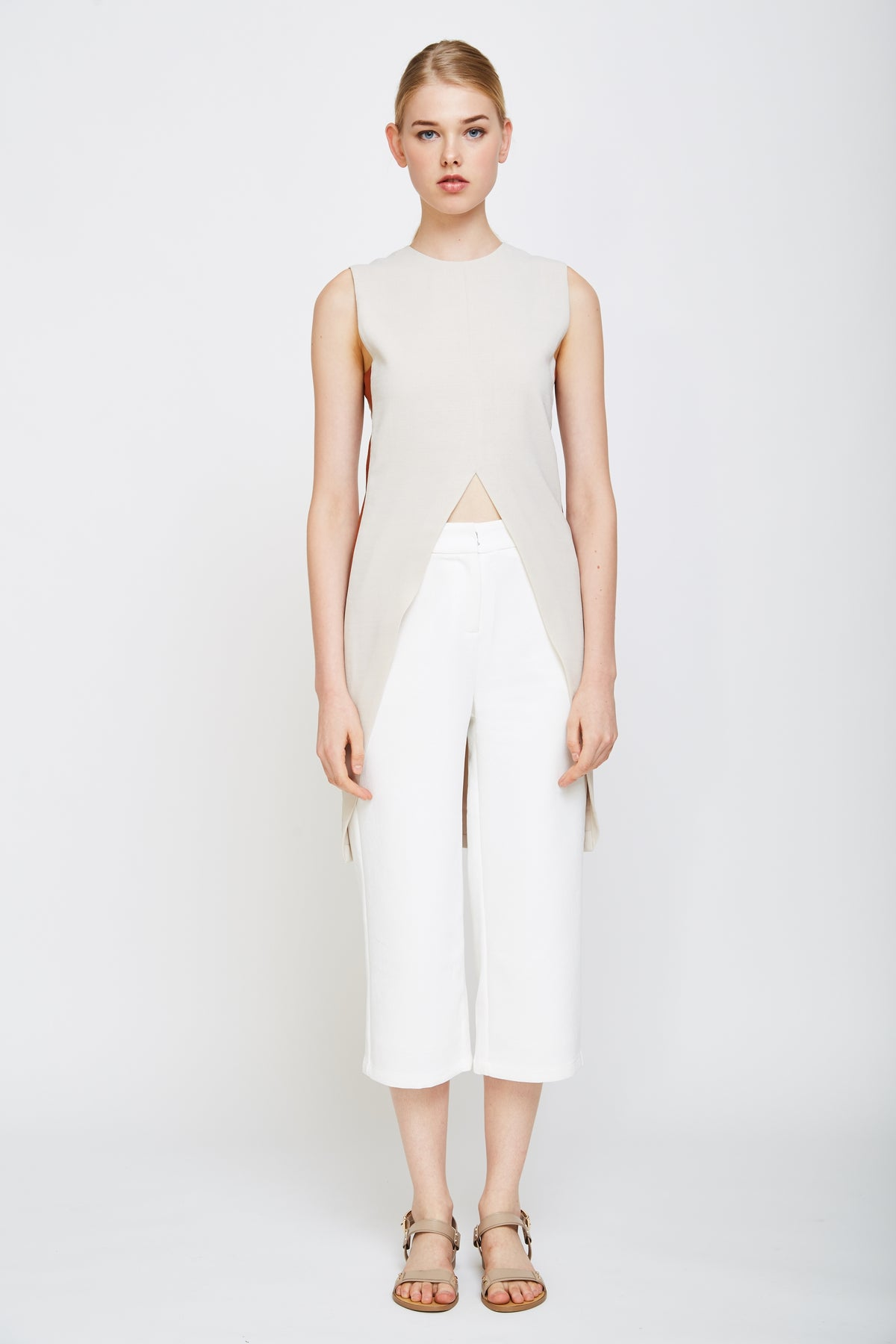 Colourblock Tuxedo Top In Cream