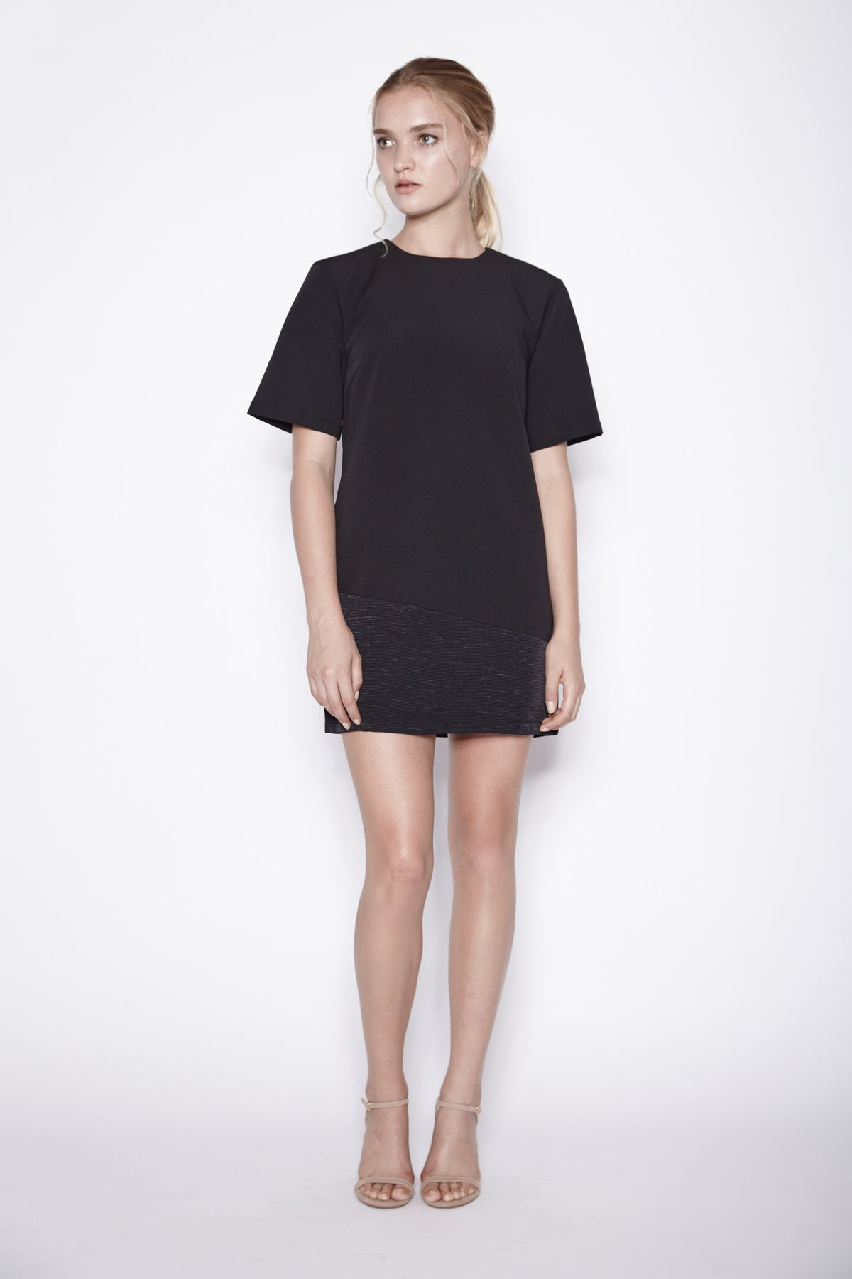 Panel Shift Dress In Black