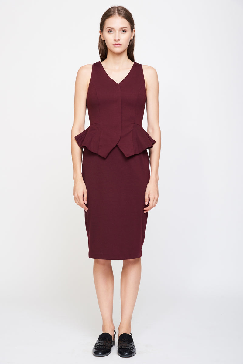 Peplum Vest Dress In Burgundy