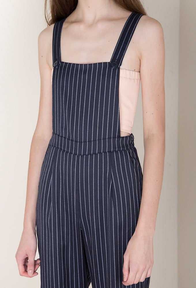 Crossback Overalls In Pinstripe
