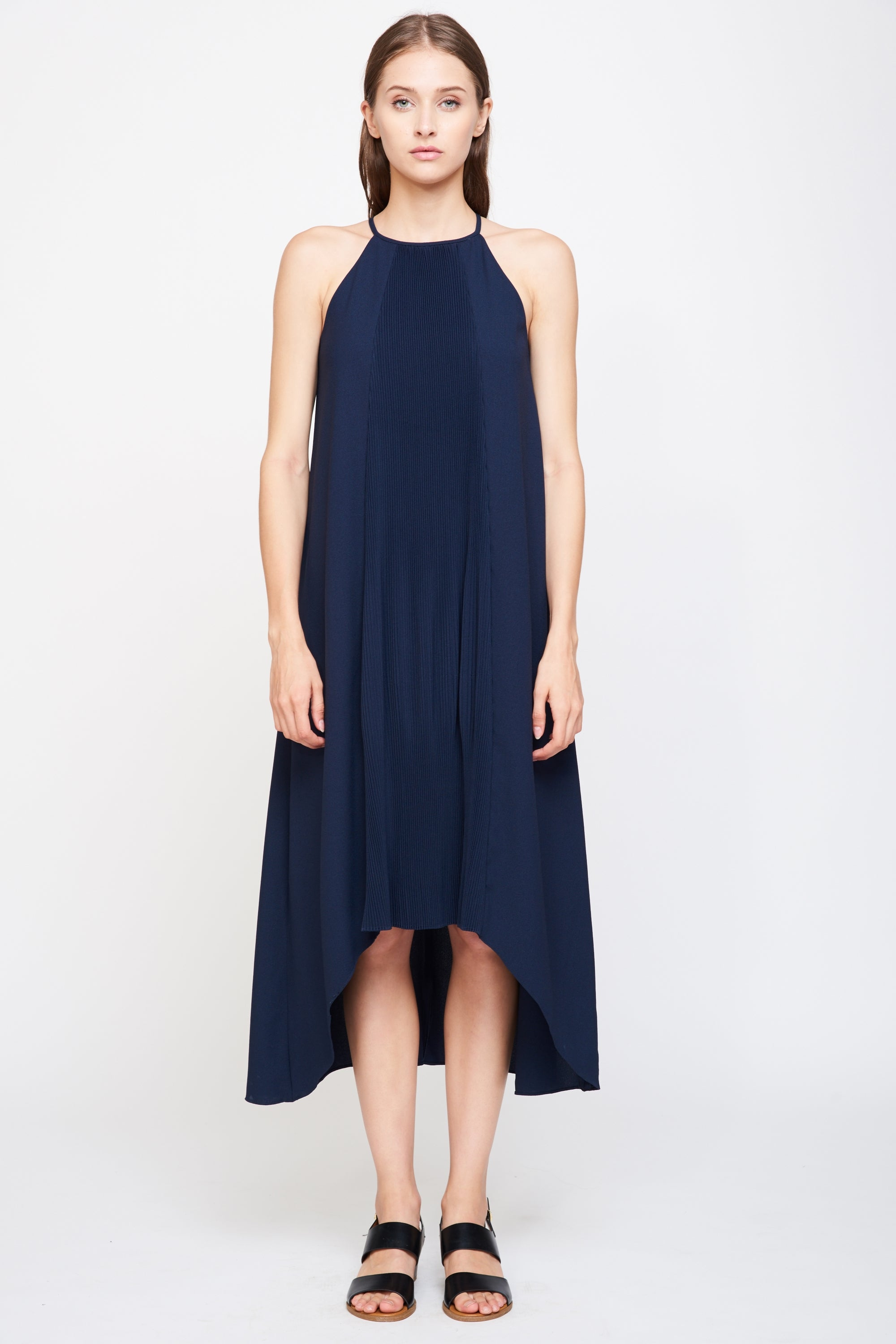 Pleated Halter Dress in Navy