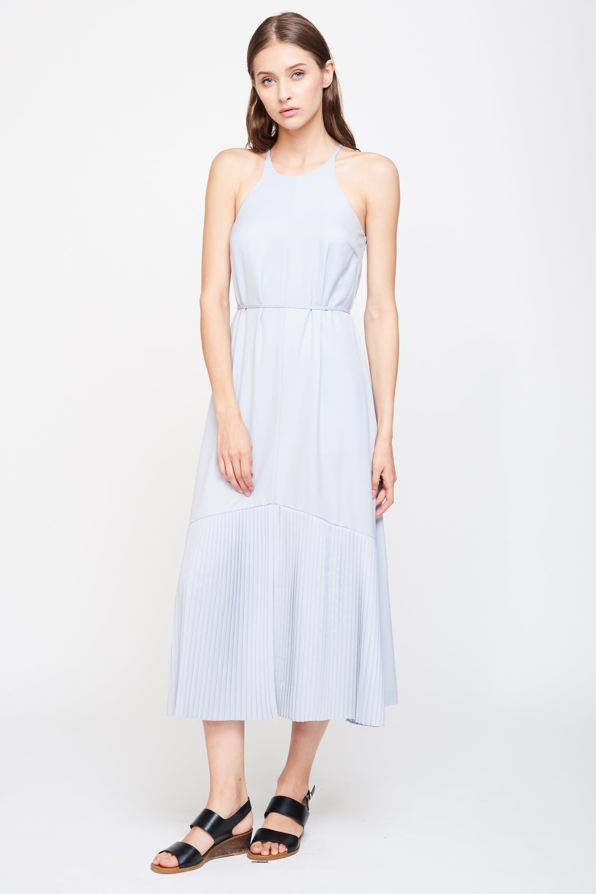 Pleated Hem Maxi Dress In Dove