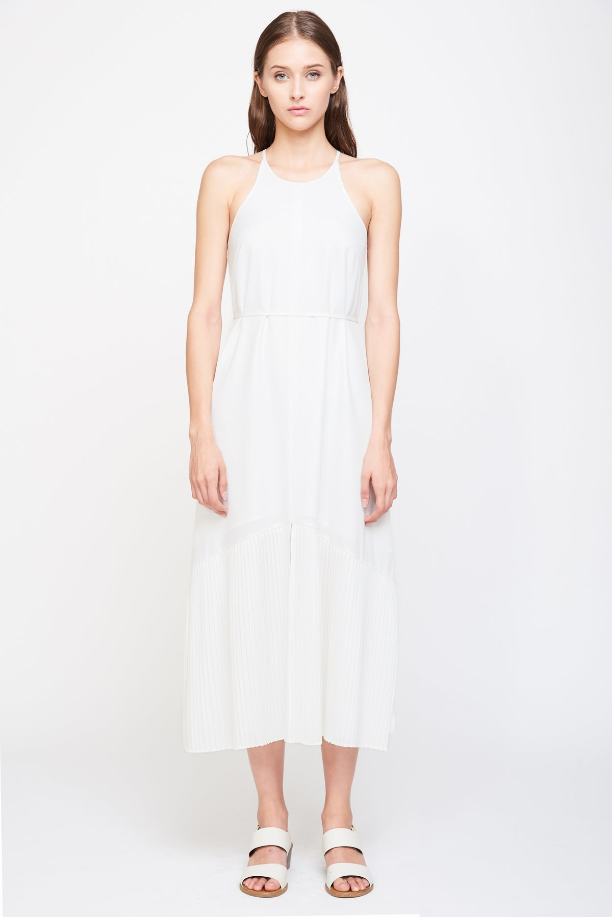 Pleated Maxi Dress in White