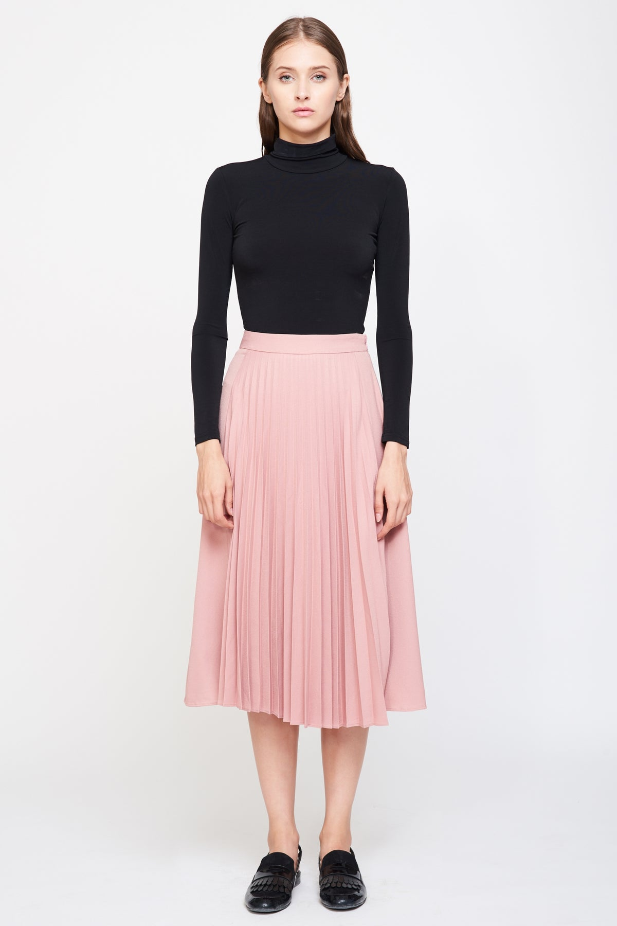Pleated Midi Skirt in Pink