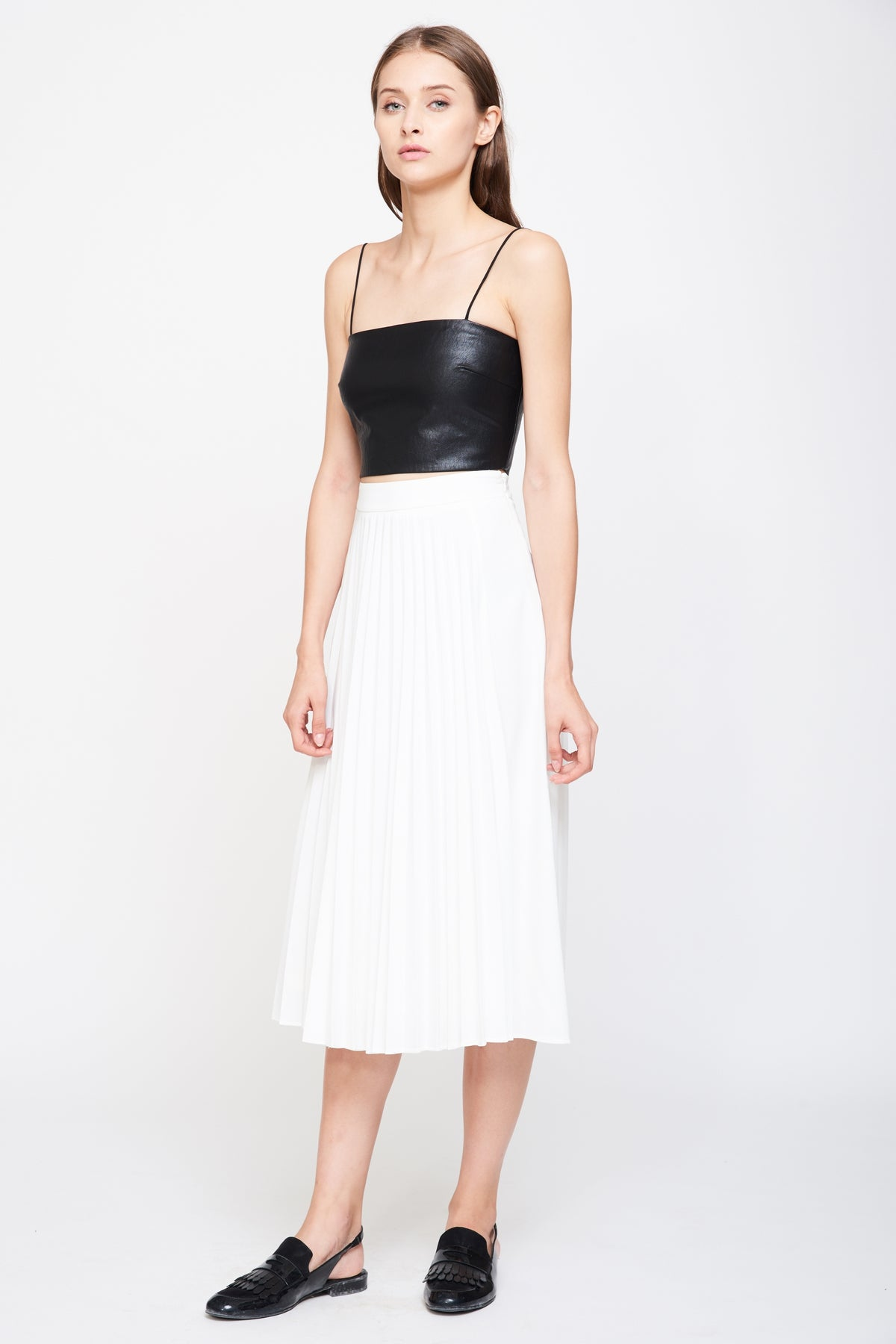 Pleated Midi Skirt In White