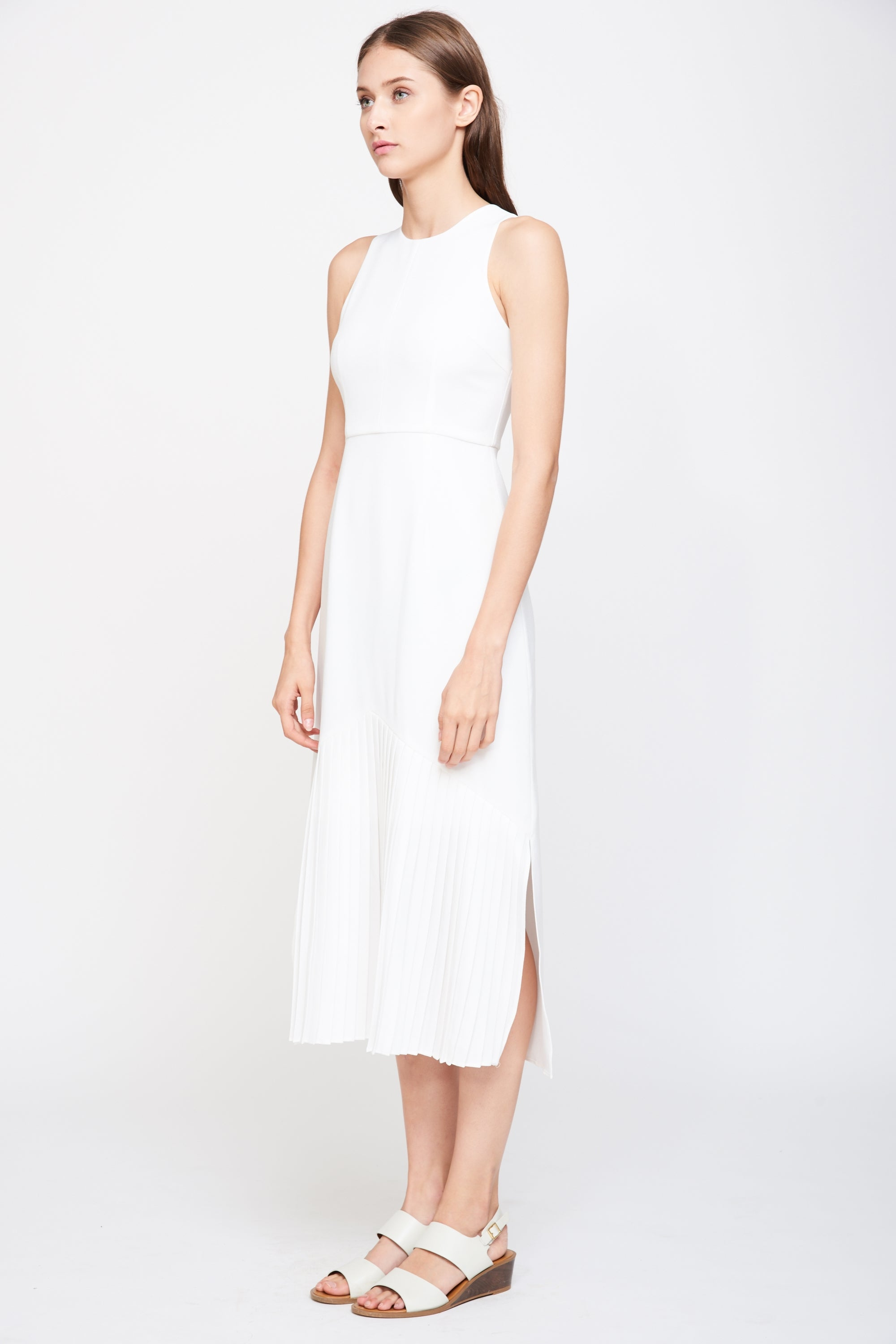 Pleated Sleeveless Maxi Dress in White