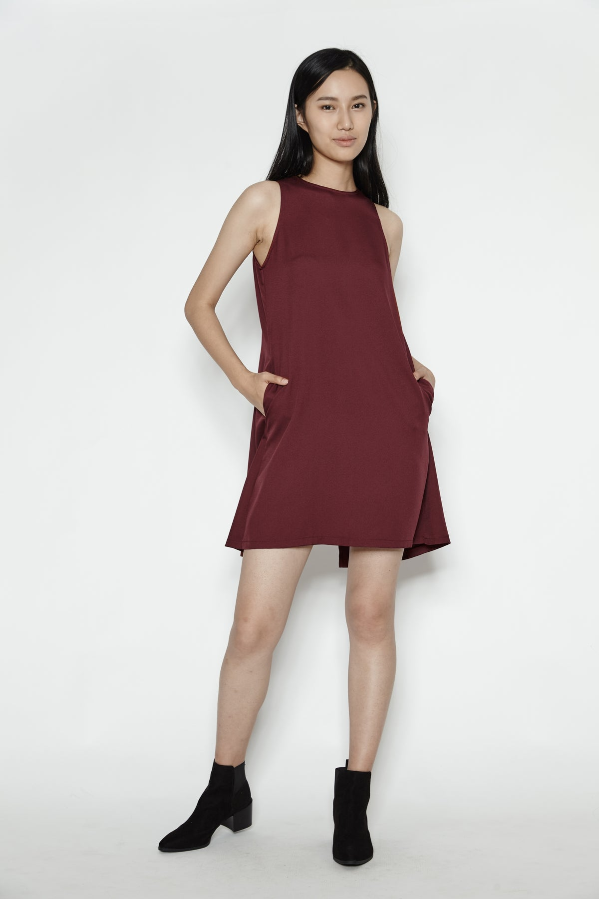 Cape Dress In Maroon