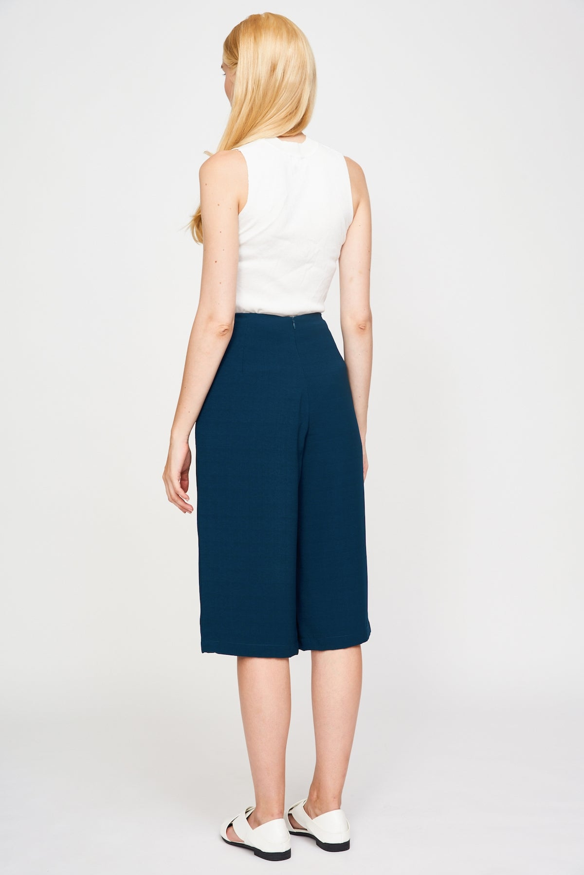 Basic Culottes In Pine Green