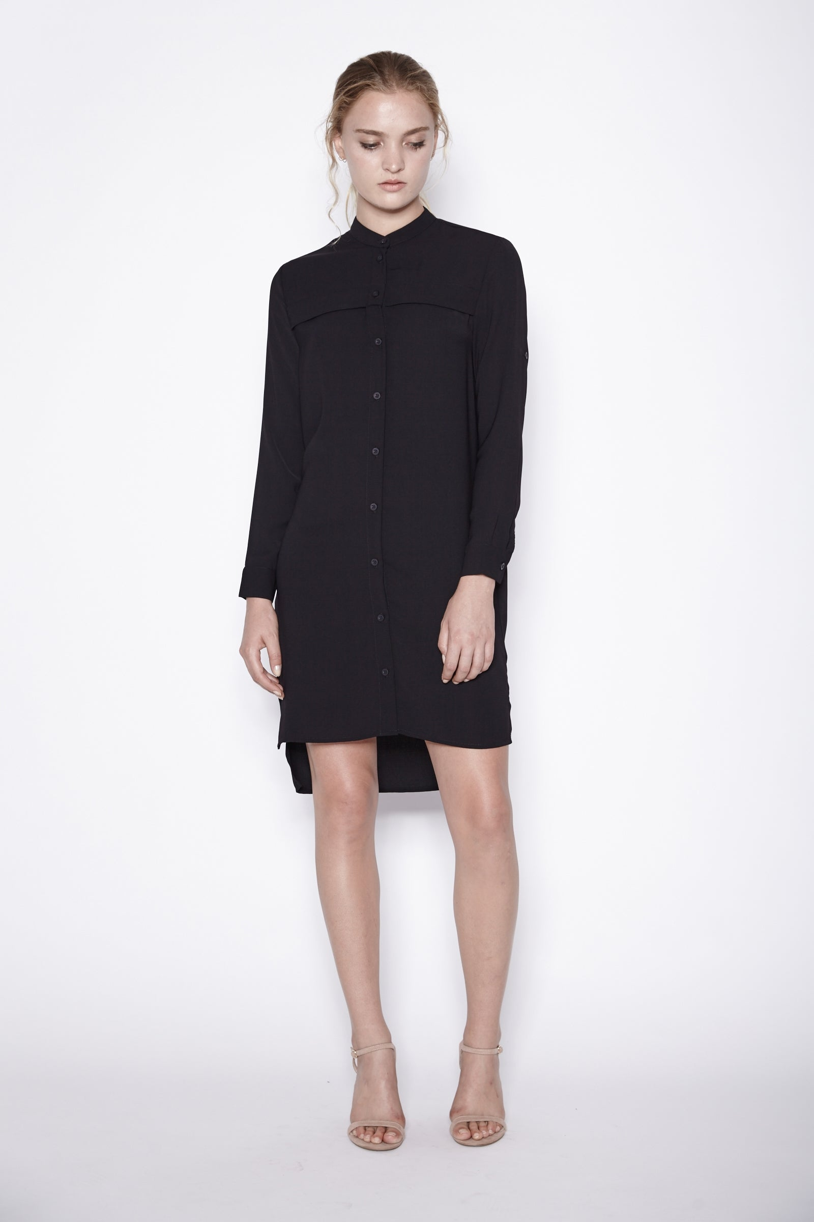 Asymmetrical Shirt Dress In Black