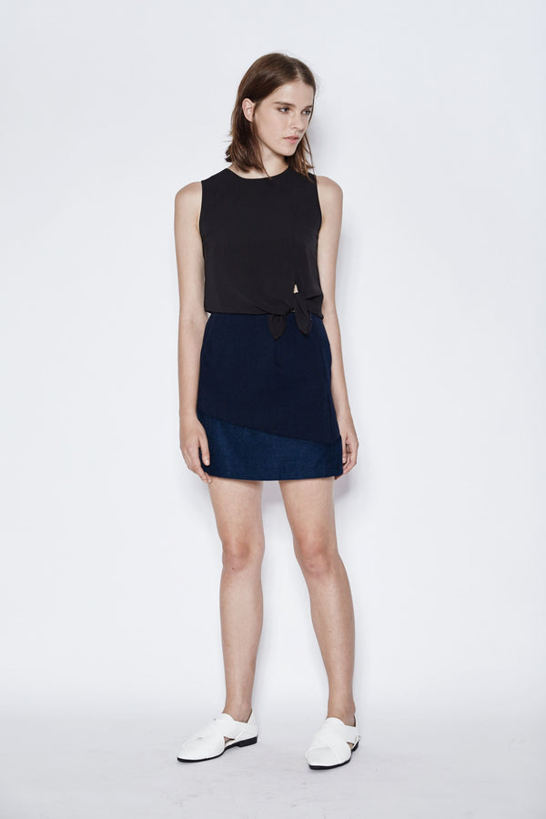 Suede Insert Skirt In Navy