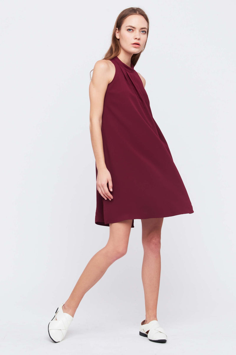 Pleated Swing Dress In Red