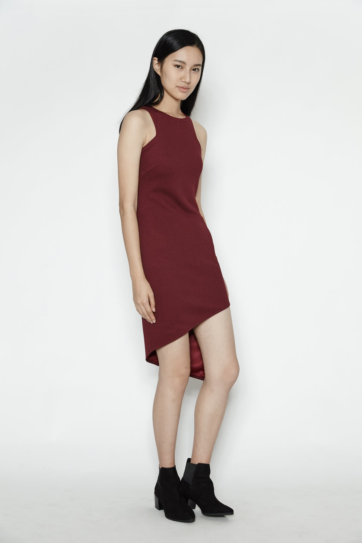 Asymmetrical Midi Dress in Maroon