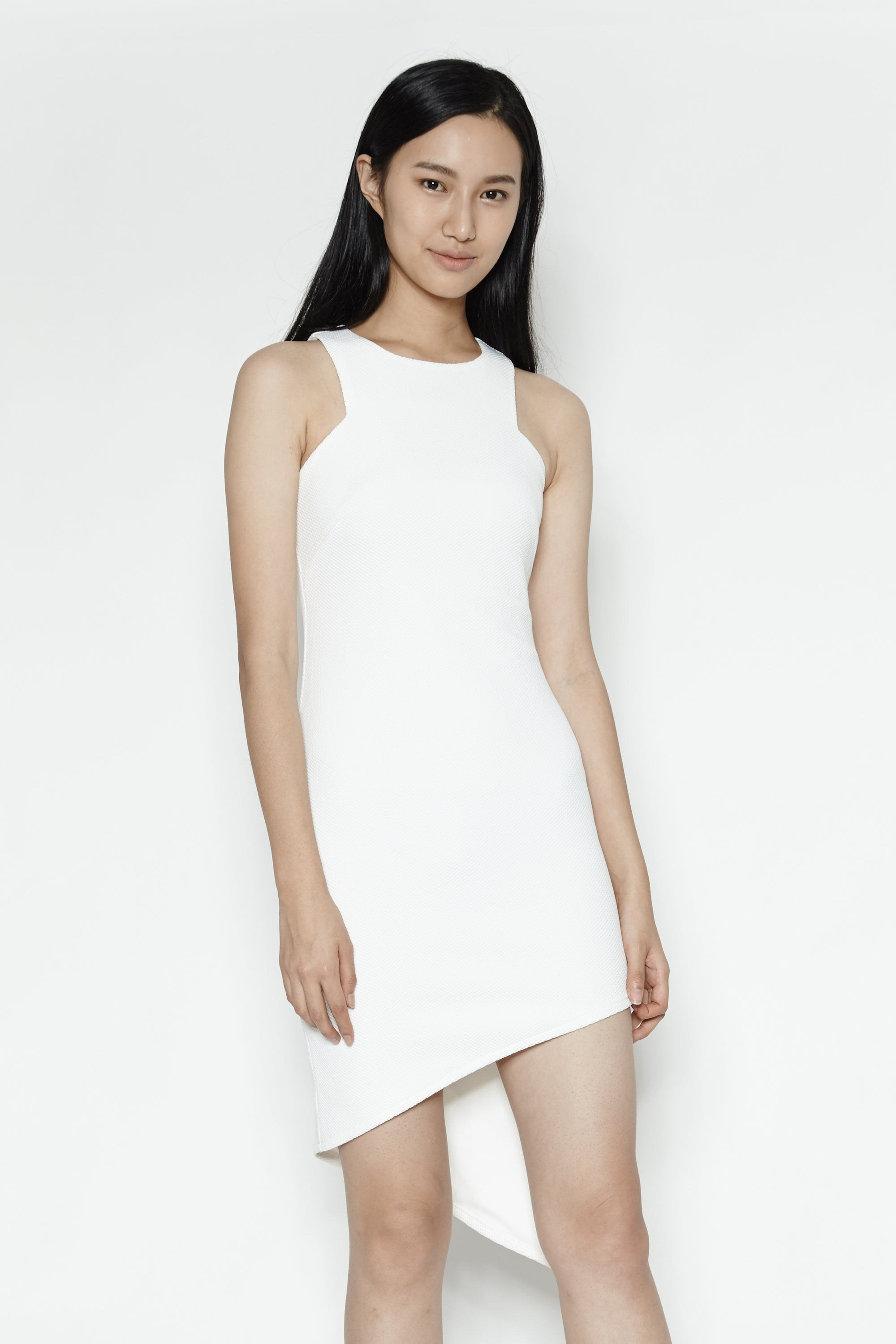 Asymmetrical Midi Dress in White