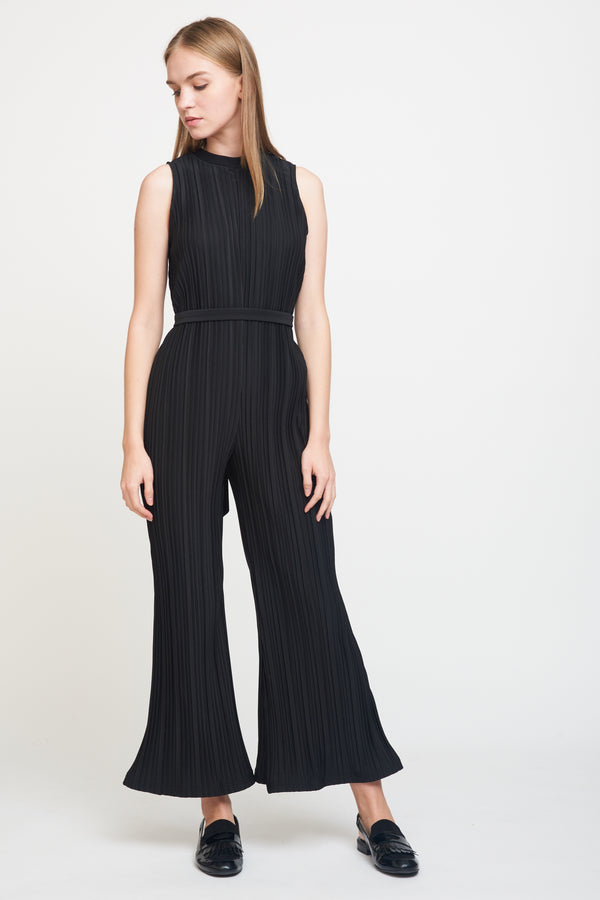 Textured Pleated Jumpsuit