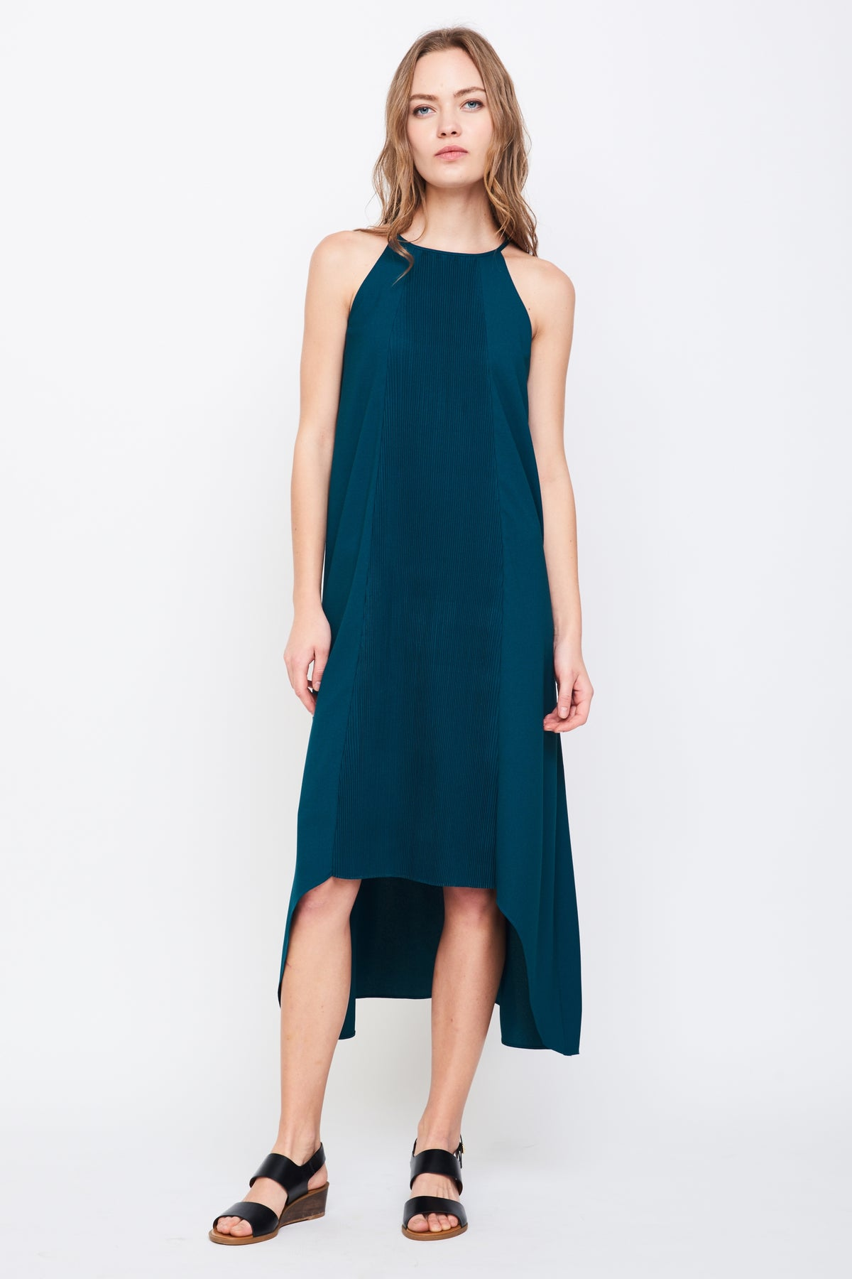 Pleated Halter Dress In Teal