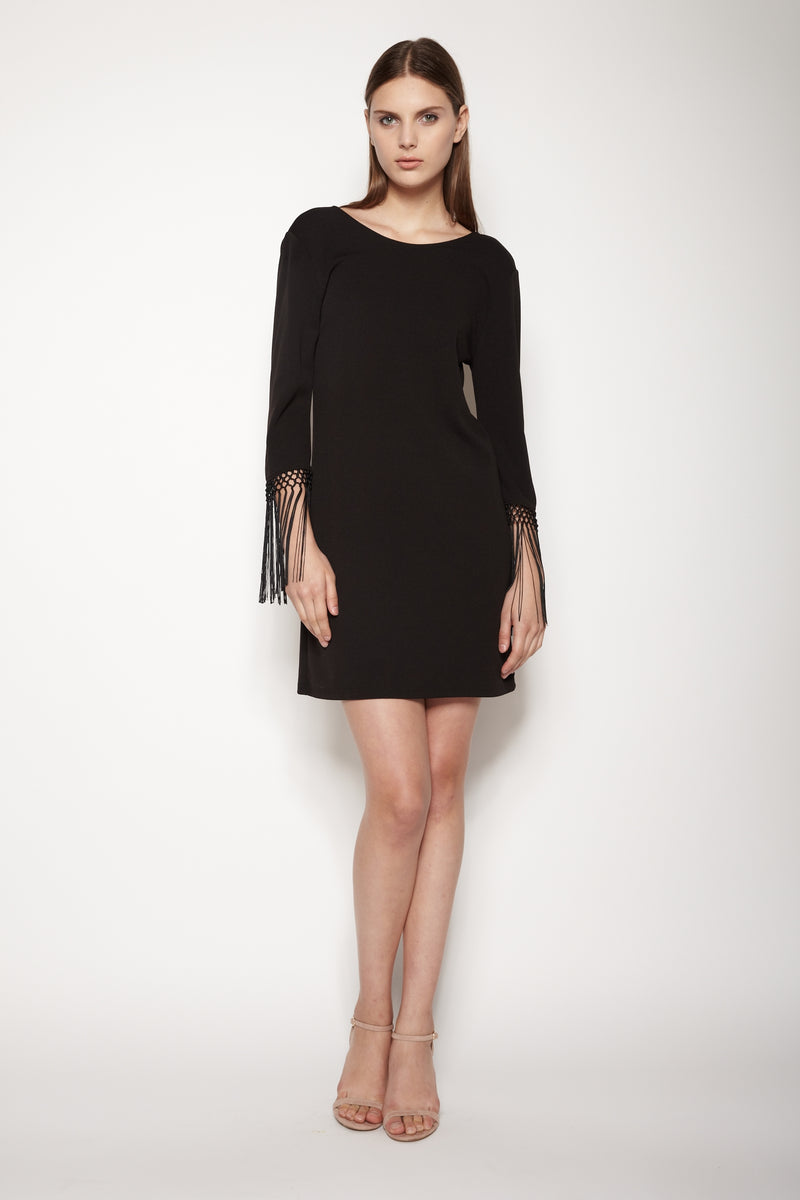 Fringe Sleeve V Back Dress In Black