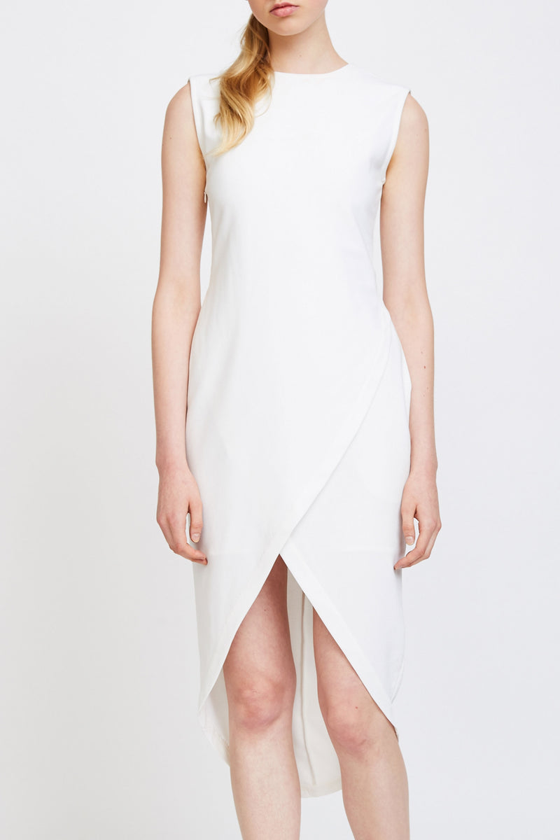 Wrap Front Tailored Dress In White