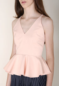 V-neck Peplum Top in Pale Rose