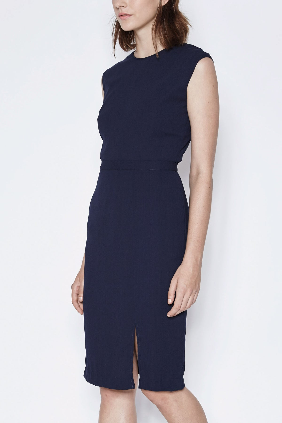 Thigh Split Tailored Dress In Navy