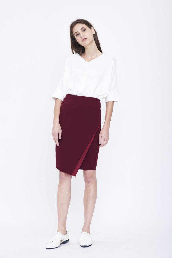 Suede Insert Pencil Skirt In Maroon