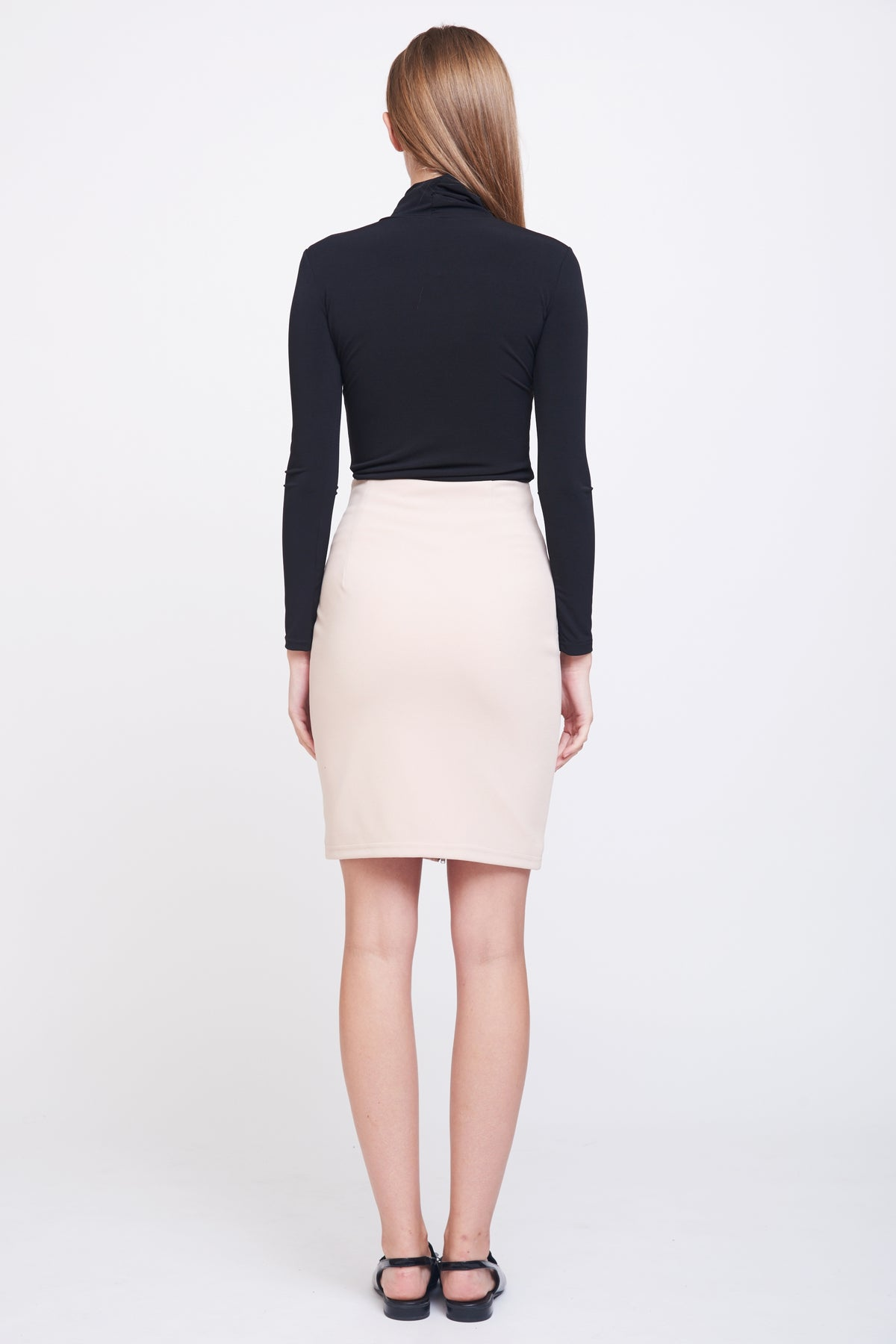 Zip Up Pencil Skirt In Blush
